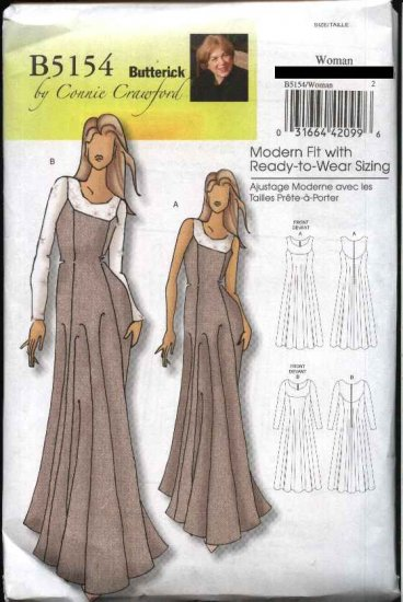 Butterick Sewing Pattern 5154 Misses Size 3-16 Easy Classic Evening Gown Formal Dress