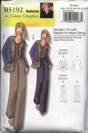 Butterick Sewing Pattern 5192 Misses Size 3-16 Easy Contrast Jacket Classic Fitted Pants