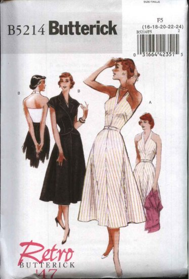 Butterick Sewing Pattern 5214 Misses Size 16-24 Easy Retro '47 Halter Neck Dress Sleeveless Jacket