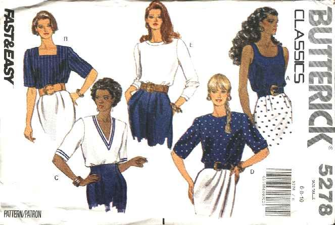 Butterick Sewing Pattern 5278 B5278 Misses Size 6-10 Easy Classic Pullover Tops Sleeve Neck Options