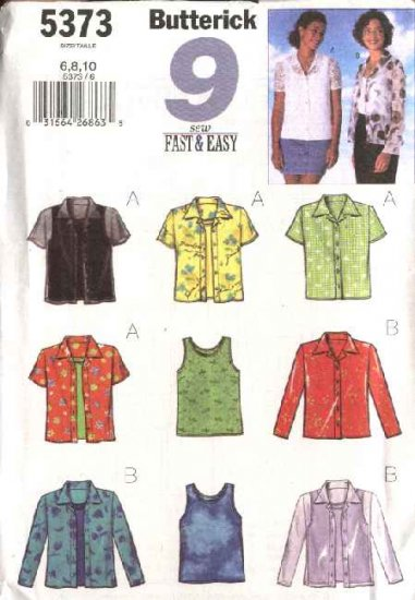 Butterick Sewing Pattern 5373 Misses Size 6-8-10 Easy Button Front Short Long Sleeve Shirt Tank Top
