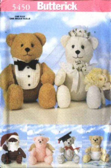 Butterick Sewing Pattern 5450 18� Special Occasion Bears Bride Groom Santa Claus Angel Graduate