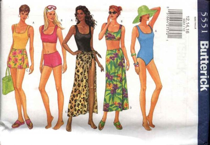 Butterick Sewing Pattern 5551 Misses Size 18-20-22 Easy One Two Piece Swim Suit Bathing Cover-up