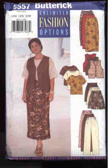 Butterick Sewing Pattern 5557 Womans Plus Size 22W-26W Easy Wardrobe Skirt Pants Vest Top Shorts