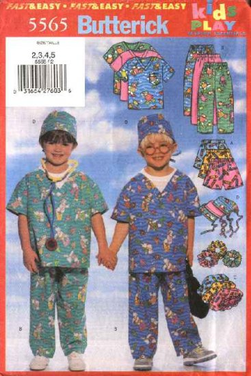 Butterick Sewing Pattern 5565 Boys Girls Size 2-5 Easy Scrub Uniform Pants Pullover Top Shorts Hat
