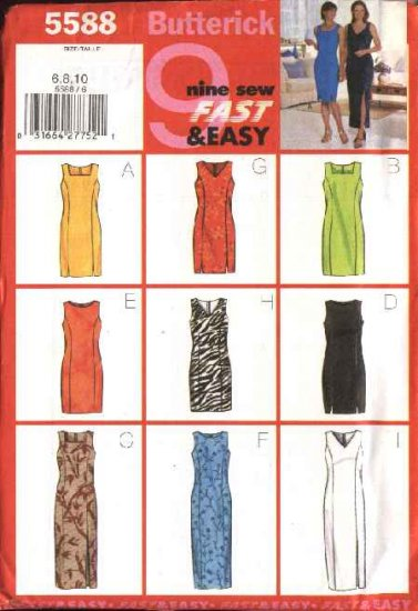 Butterick Sewing Pattern 5588 Misses Size 18-20-22 Easy Straight Short Long Fitted Sleeveless Dress