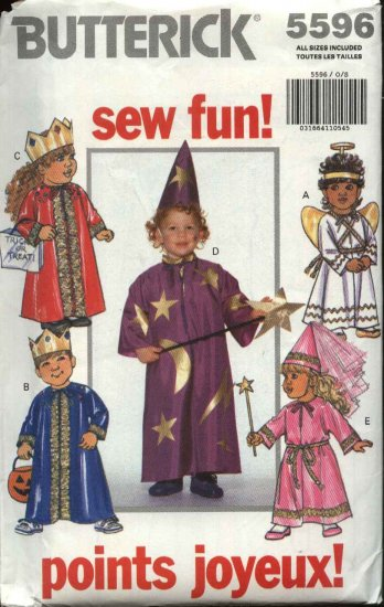 Butterick Sewing Pattern 5596 Toddler�s Size 1-4 Easy Costumes Angel Princess Wizard King Queen