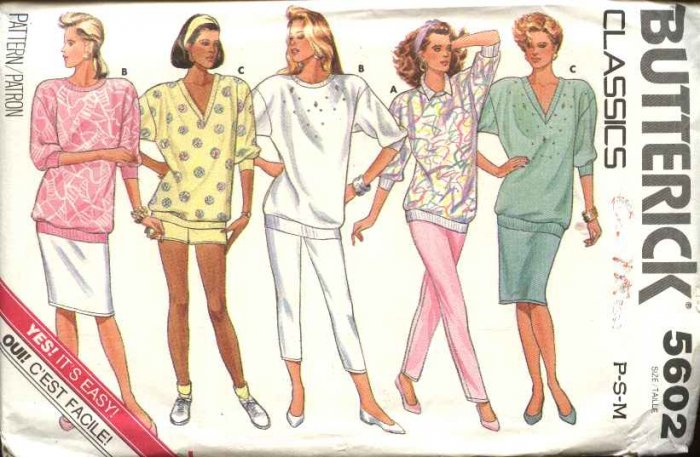 Retro Butterick Sewing Pattern 5602 B5602 Misses Size 6-14 Easy Wardrobe Knit Top Shorts Pants Skirt