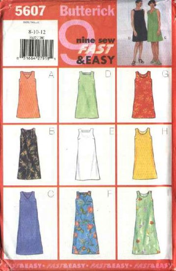 Butterick Sewing Pattern 5607 Misses Size 8-10-12 Easy Sleeveless A-Line Short Long Dress