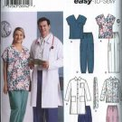 "Simplicity Sewing Pattern 5443 Mens Womens Chest Size 40-50"" Scrub Top Jacket Pants Necktie"