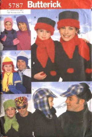 Butterick Sewing Pattern 5787 Mens Misses Girls Boys All Sizes Hats Scarves Mittens