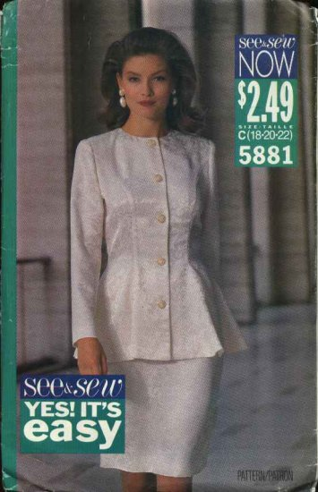 Butterick Sewing Pattern 5881 Misses Size 18-20-22 Easy Button Front Peplum Top Straight Skirt