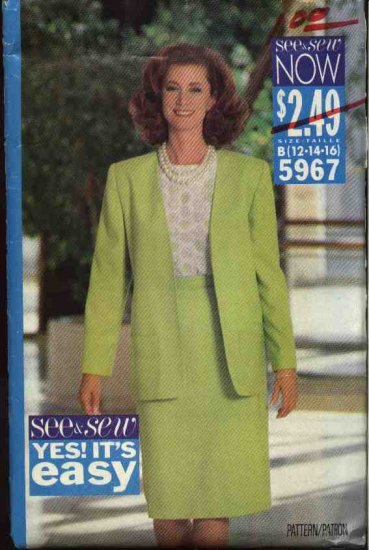 Butterick Sewing Pattern 5967 Misses Size 12-16 Easy Unlined Jacket, Pullover Top Straight Top Suit