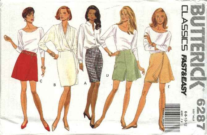 Butterick Sewing Pattern 6287 B6287 Misses Size 6-12 Easy A-Line Straight Skirt Shorts Skorts