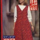 Butterick  Sewing Pattern 6321 Misses Size 6-14 Easy Dropped Waist Jumper Pullover Top