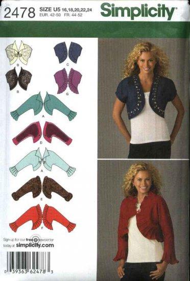 Simplicity Sewing Pattern 2478 Misses Sizes 16-24 Sleeveless Long Sleeve Bolero Shrug Jacket