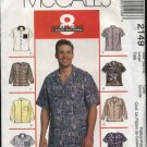 McCall's Sewing Pattern 2149 Men's Chest Size Small 34-36 Easy Sports Casual Button Front Shirts