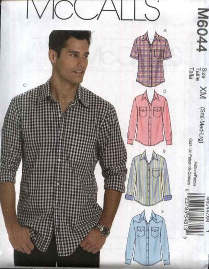 """McCall�s Sewing Pattern 6044 M6044 Mens Chest Size 46-56"""" Short Long Sleeve Western Shirts"""