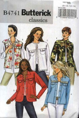 Butterick Sewing Pattern 4741 Misses Sizes 8-14 Easy Classic Blue Jean Style Jacket Vest