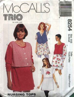 McCall�s Sewing Pattern 8254 Misses Size 4-6 Maternity Nursing Breastfeeding Pullover Top
