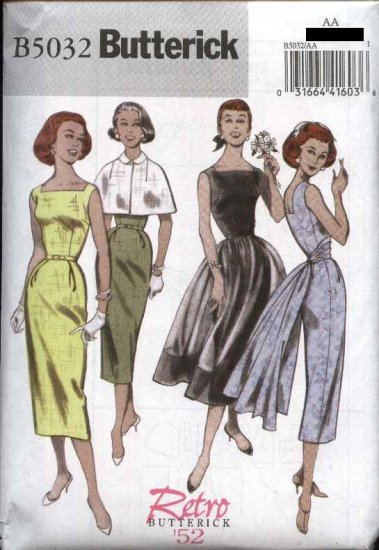 Butterick Sewing Pattern 5032 Misses Size 6-8-10-12 Easy Retro '52 Capelet Dress Overskirt Sash