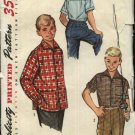 Vintage Simplicity Sewing Pattern 1781 Boys Size 10 Button Front Short Long Sleeve Shirts