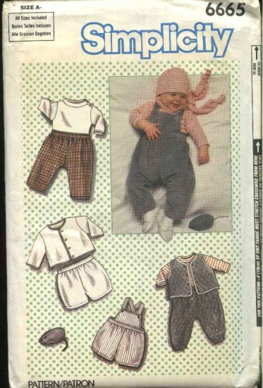 Simplicity Sewing Pattern 6665 Baby Boy Infant Size 7-24# Wardrobe ...