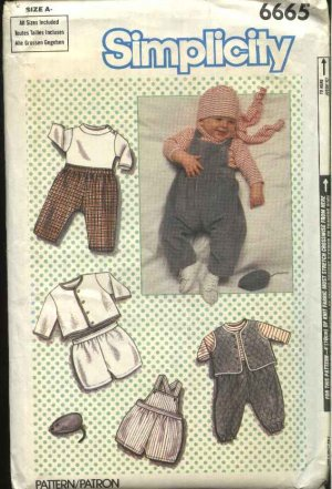 Simplicity Sewing Pattern 6665 Baby Boy Infant Size 7 24