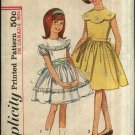 Vintage Simplicity Sewing Pattern 5371 Girls Size 14 Full Skirt Button Back Classic Dress