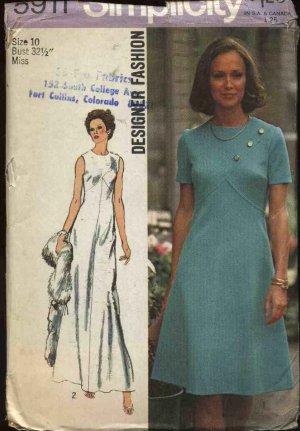 Vintage 1973 Simplicity Sewing Pattern 5911 Misses size 10 Long Short Dress
