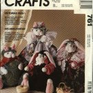 "McCall's Sewing Pattern 761 5987 Victorian Dressed Soft Doll 13"" Rabbit Cat Bunny Dolls Clothes"
