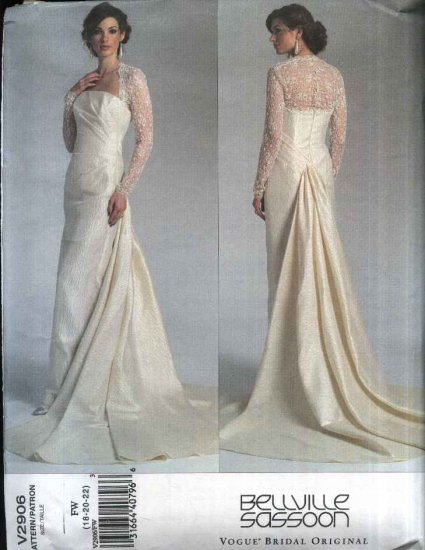 Vogue Sewing Pattern 2906 Misses Size 18-22 Bellville Sassoon Bridal Original Wedding Gown Dress