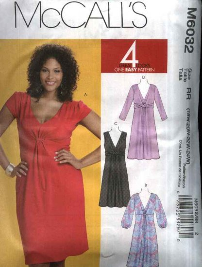McCall�s Sewing Pattern 6032 Womans Plus Size 18W-24W Knit Raised Waist Dress Sleeve Variations