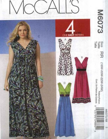 McCall�s Sewing Pattern 6073 Womans Plus Size 18W-24W Easy Knit Sleeveless Empire Dress