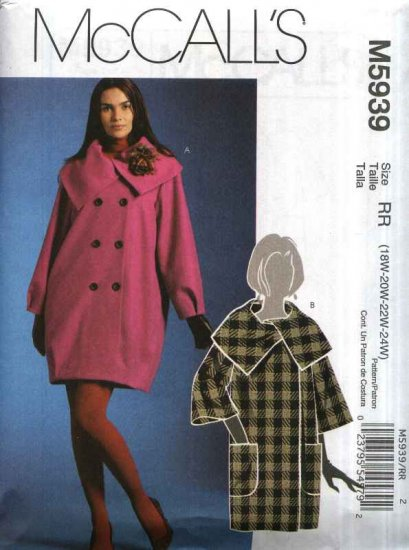 McCall�s Sewing Pattern 5939 Womans Plus Size 18W-24W Lined Double Breasted Loose-fitting Coat