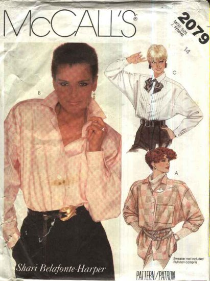 Retro McCall�s Sewing Pattern 2079 Misses Size 14 Long Sleeve Button Tucks Front Big Shirts