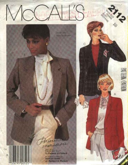 McCall�s Sewing Pattern 2112 Misses Size 16 Palmer Pletsch Lined Tailored Button Front Jacket