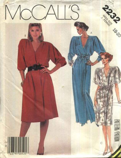 Retro McCall�s Sewing Pattern 2232 Misses Size 18-20 Mock Wrap Front Short Long Dress Sash