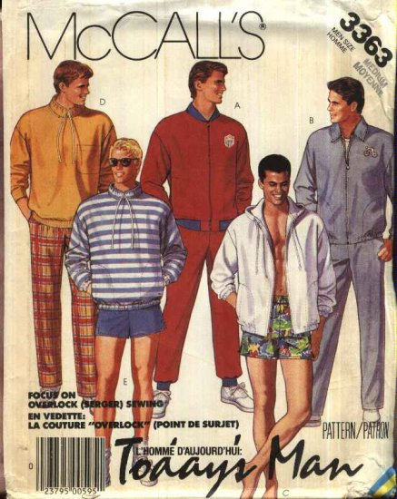 """McCall�s Sewing Pattern 3363 Mens Chest Size 38-40""""  Wardrobe Zipper Front Jacket Top Pants Shorts"""