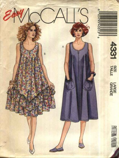 McCall�s Sewing Pattern 4331 Misses Size 18-20 Easy Loose Fitting Sleeveless Summer Dress