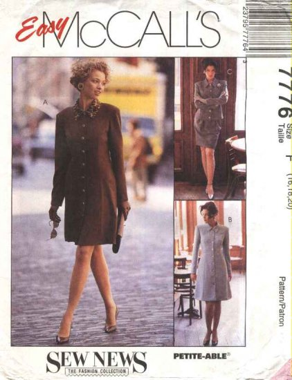 McCalls Sewing Pattern 7776 Misses Size 16-18-20 Easy Button Front Dress Jacket Skirt Suit