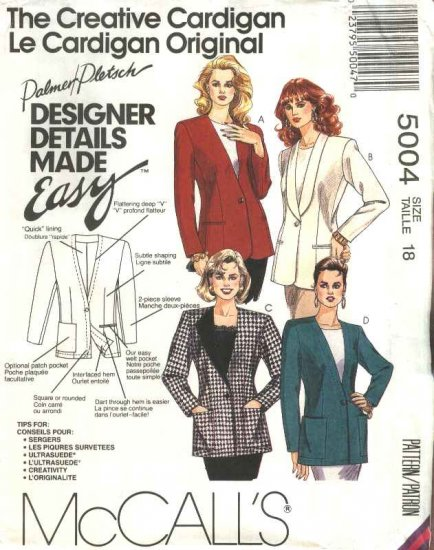 McCalls Sewing Pattern 5004 Misses Size 22 Easy Lined Button Front Cardigan Jacket Collar Options