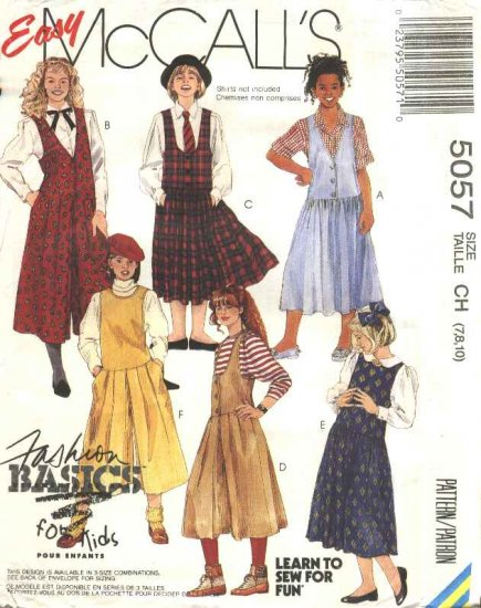 McCalls Sewing Pattern 5057 M5057 Girls Size 7-10 Easy Classic Jumpers Gathered Split Culotte Skirt