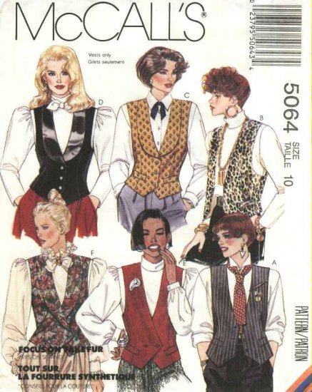 McCalls Sewing Pattern 5064 Misses Size 10 Lined Vest Collar Closure Variations