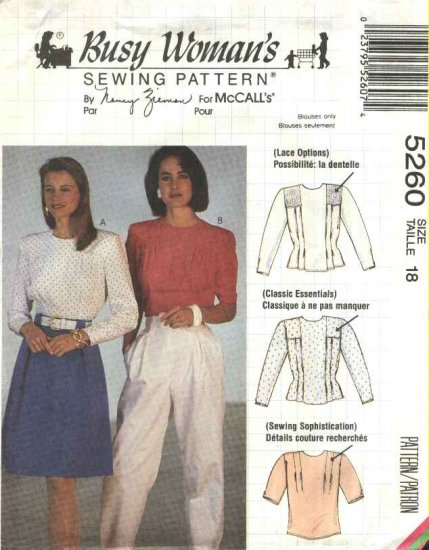 McCalls Sewing Pattern 5260 Misses Size 18 Nancy Zieman Back Button Blouse Short Long Sleeves