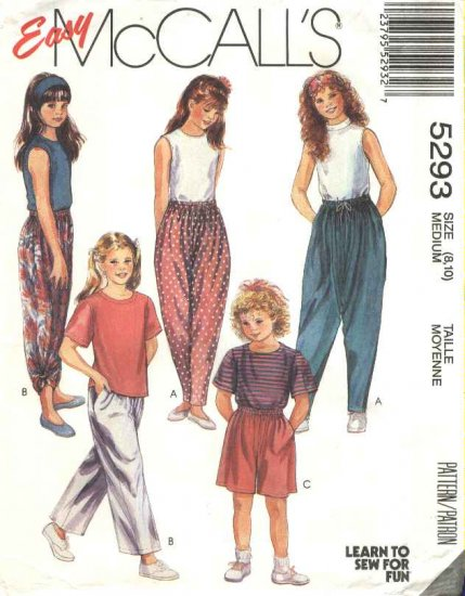 McCalls Sewing Pattern 5293 Girls Size 8-10 Easy T-Shirt Top Pants Shorts Headband