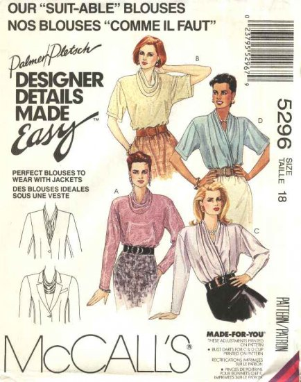 McCalls Sewing Pattern 5296 Misses Size 18 Easy Palmer Pletsch Front Wrap Back Button Blouses