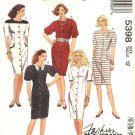 McCalls Sewing Pattern 5398 Misses Size 16 Basic Button Front Straight Short Sleeve Dress