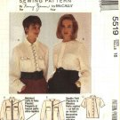 McCalls Sewing Pattern 5519 Misses Size 18 Nancy Zieman Button Front Blouse Long Short Sleeves