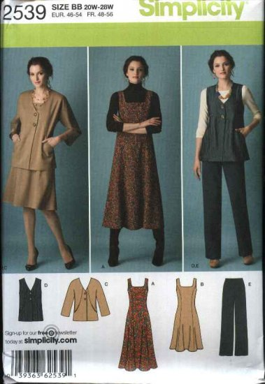 Simplicity Sewing Pattern 2539 Misses Size 10-18 Wardrobe Vest Jacket Dress Jumper Pants